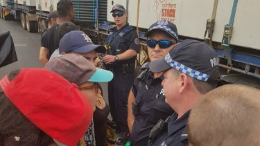 Police attended the rally in Alice Springs on Friday afternoon.