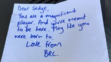 The letter from Adelaide coach Bec Goddard to Jess Sedunary.