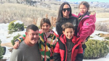 James Packer with his children Indigo, Jackson and Emmanuelle, with their mother and his ex wife Erica at their home in Aspen for Christmas 2017.