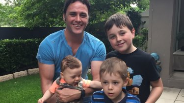 Clockwise from top: Matt Walker with his three sons Jarvis, Maxi and Jack.