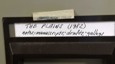 A file from one of Gerald Murnane's filing cabinets.