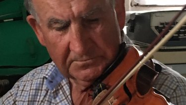 Gerald Murnane with his ''fiddle''.