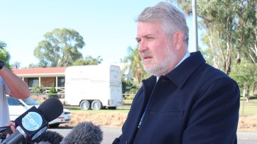Detective Inspector David Isherwood addresses the media following the discovery of human remains near Stanthorpe on Thursday.