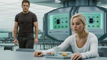 They need to talk: Jennifer Lawrence and Chris Pratt in <i>Passengers</i>.