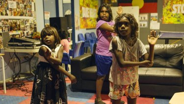 Indigenous children dance at Save the Children Australia's only five-night-a-week shelter.