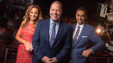 Carrie Bickmore, Peter Helliar and Waleed Aly,  at Channel 10.