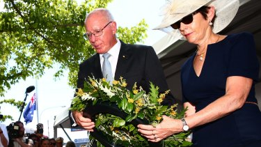 Governor David Hurley and his wife lay a wreath at the Granville ceremony.