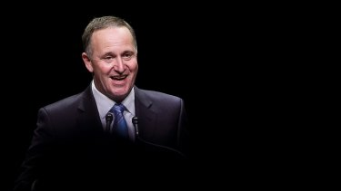 NZ Prime Minister and National Party Leader John Key delivers his victory speech in 2014.