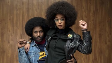 David John Washington and Laura Harrier in Spike Lee's BlacKKKlansman.