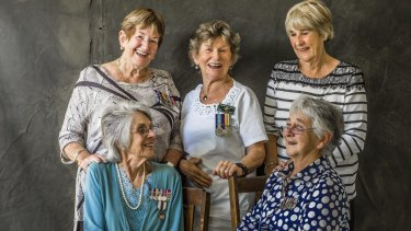 War nurses Anne Young, Janet Glasson, Terrie Ross, Margaret Sutherland and Trish Kennedy.