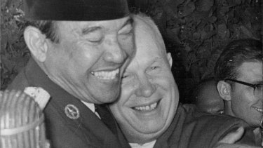 Soviet leader Nikita Khrushchev and Sukarno in 1960.