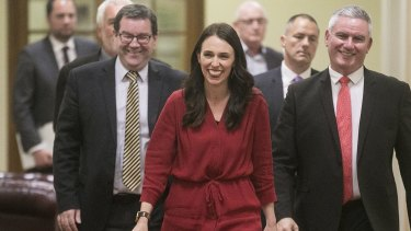 Prime Minister-elect Jacinda Ardern arrives at her media conference after it was announced Winston Peters was forming a government with Labour and the Greens.