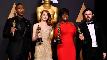 Ali with fellow actor winners Emma Stone, Viola Davis and Casey Affleck.