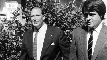 Malcolm Turnbull (right) and the late media mogul Kerry Packer in 1984.