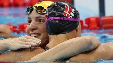 Australia's Bronte  Campbell  embraces Denmark's Pernille Blume.