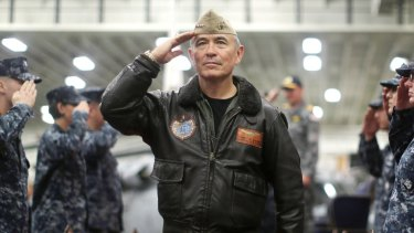 US Navy Admiral Harry Harris aboard the USS Bonhomme Richard off the coast of Sydney in June during a joint military exercise between the US and Australia.