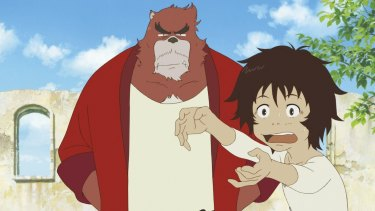 <i>The Boy and the Beast</i> features a young boy, Ren, and a bear-like character, Kumatetsu, who takes him as apprentice.