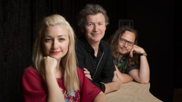Kate Miller-Heidke with Simon Phillips and Keir Nuttall during rehearsals for <i>Twelfth Night</I>.