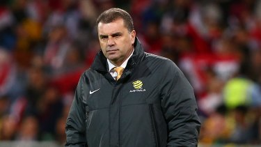 Game face: Socceroos coach Ange Postecoglou won't be fronting the cameras for the squad announcement.
