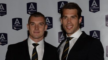 Dustin Martin with Alex Rance at the All Australian dinner on Wednesday.