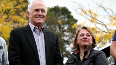 Prime Minister Malcolm Turnbull lends a hand to the Sophie Mirabella effort earlier in the campaign.