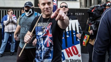 A protester in the Reclaim Australia rally at Martin Place in July last year.