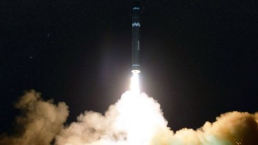The missile the North Korean government calls the Hwasong-15 is launched in North Korea on Wednesday.