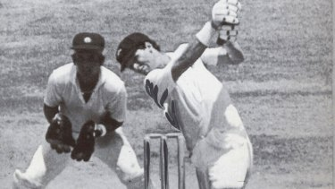 In his prime: Dean Jones steps out to lift Shivlal Yadav to the fence on the second day of the Tied Test against India in 1986.
