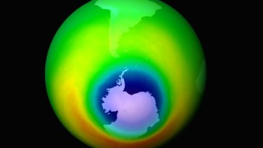 A NASA image from 1999 shows areas of depleted ozone over the Antarctic in blue.