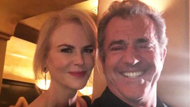 Mel Gibson takes a selfie with Nicole Kidman at the AACTA Awards. Both were nominated for an Oscar.