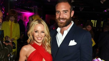 Kylie Minogue and fiance Joshua Sasse.
