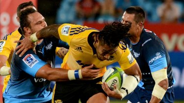 He's back: All Blacks centreMa'a Nonu pulled on a Hurricanes jersey for the first time since 2011.