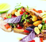 Rob Nixon's Thai inspired marinated beef with purple basil, coriander and lime.