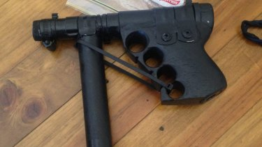 "A homemade ""slam gun"" made by Michael Holt and seized by police."