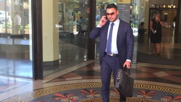 Salim Mehajer outside the Downing Centre on Monday.