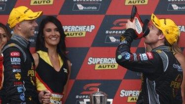 Shoe-in: Winning drivers David Reynolds and Luke Youlden of Erebus Motorsport.