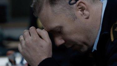 Jakob Cedergren in Gustav Moller's The Guilty.