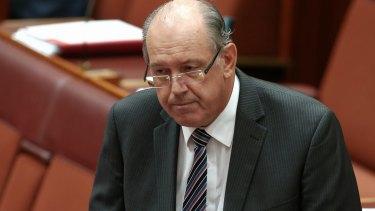 Expressing regret: Defence Minister David Johnston delivers short statement to Senate on Wednesday morning.