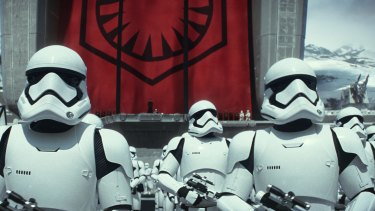 Stormtroopers in a scene from <i>Star Wars: The Force Awakens</i>.