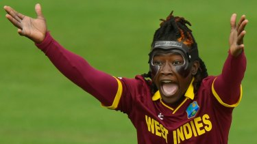 A masked Deandra Dottin of the West Indies appeals for a wicket during the ICC Women's World Cup 2017 match between Australia and West Indies.