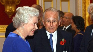The Queen with Lord Greville Janner at a reception in 2003.