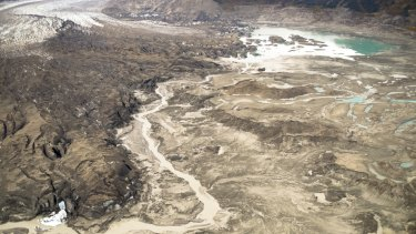 A stream runs along the toe of Kaskawulsh Glacier in Kluane National Park in the Yukon.