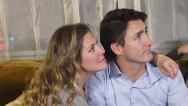 Justin Trudeau with his wife Sophie Gregoire Trudeau in Montreal last year.