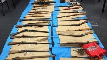 The 28 firearms police discovered at a property near Forbes in central west NSW in April.