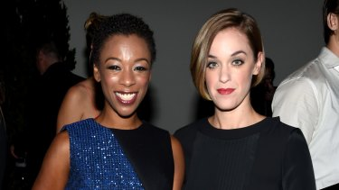 Samira Wiley (L) and Lauren Morelli  attend the 12th annual CFDA/Vogue Fashion Fund Awards at Spring Studios on November 2, 2015 in New York City.