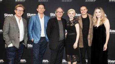 Stan Original's Romper Stomper cast and team (from left) David Wenham, Dan Edwards, John Edwards, Jacqueline McKenzie, Toby Wallace and Sophie Lowe.
