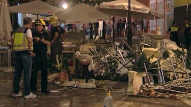 The cafe La Bohemia, after an explosion, in Malaga.