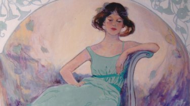 """""""Art Nouveau Girl in Green"""", acrylic by Audrey Gibbs."""