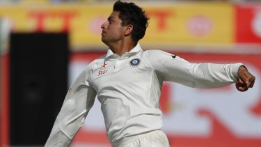 Left-arm spinner: India's Kuldeep Yadav bowls during the first day of their fourth Test against Australia.