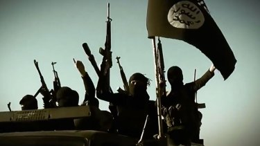 An image of Islamic State members, taken from a propaganda video.